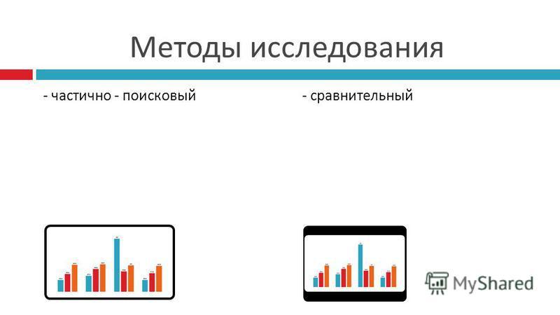 Методы исследования - частично - поисковый - сравнительный