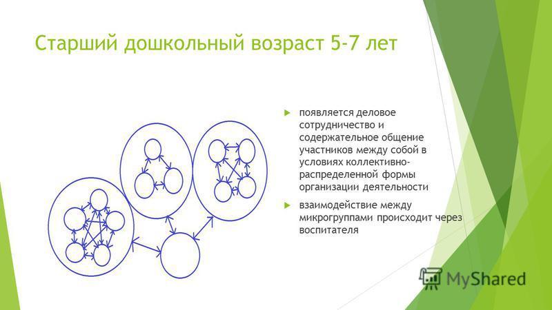 Старший дошкольный возраст 5-7 лет появляется деловое сотрудничество и содержательное общение участников между собой в условиях коллективно- распределенной формы организации деятельности взаимодействие между микрогруппами происходит через воспитателя