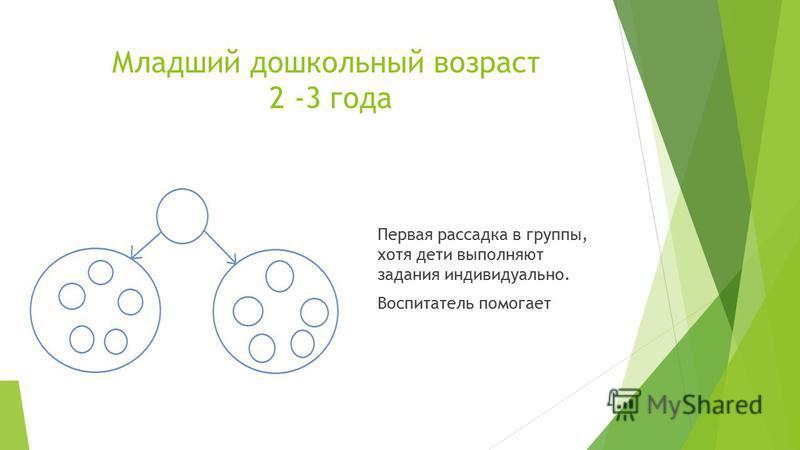 Младший дошкольный возраст 2 -3 года Первая рассадка в группы, хотя дети выполняют задания индивидуально. Воспитатель помогает