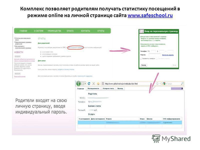 Комплекс позволяет родителям получать статистику посещений в режиме online на личной странице сайта www.safeschool.ru.safeschool.ru