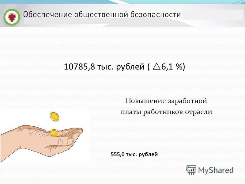 Повышение заработной платы работников отрасли 555,0 тыс. рублей 10785,8 тыс. рублей ( 6,1 %)