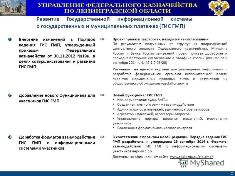 ФЕДЕРАЛЬНОЕ КАЗНАЧЕЙСТВО www.roskazna.ru 2 Внесение изменений в Порядок ведения ГИС ГМП, утвержденный приказом Федерального казначейства от 30.11.2012 19 н, в целях совершенствования и развития ГИС ГМП >>>>>>>> Проект приказа разработан, находится на