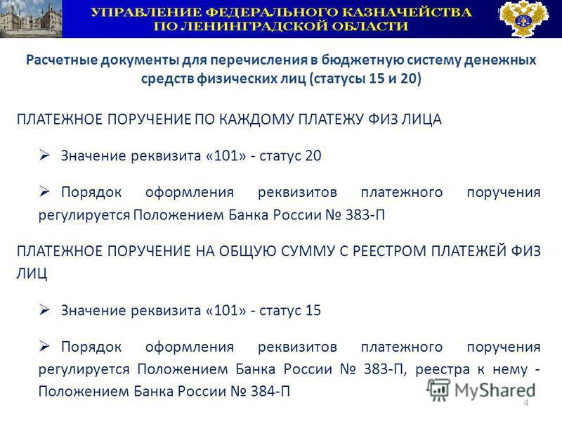 4 ПЛАТЕЖНОЕ ПОРУЧЕНИЕ ПО КАЖДОМУ ПЛАТЕЖУ ФИЗ ЛИЦА Значение реквизита «101» - статус 20 Порядок оформления реквизитов платежного поручения регулируется Положением Банка России 383-П ПЛАТЕЖНОЕ ПОРУЧЕНИЕ НА ОБЩУЮ СУММУ С РЕЕСТРОМ ПЛАТЕЖЕЙ ФИЗ ЛИЦ Значен