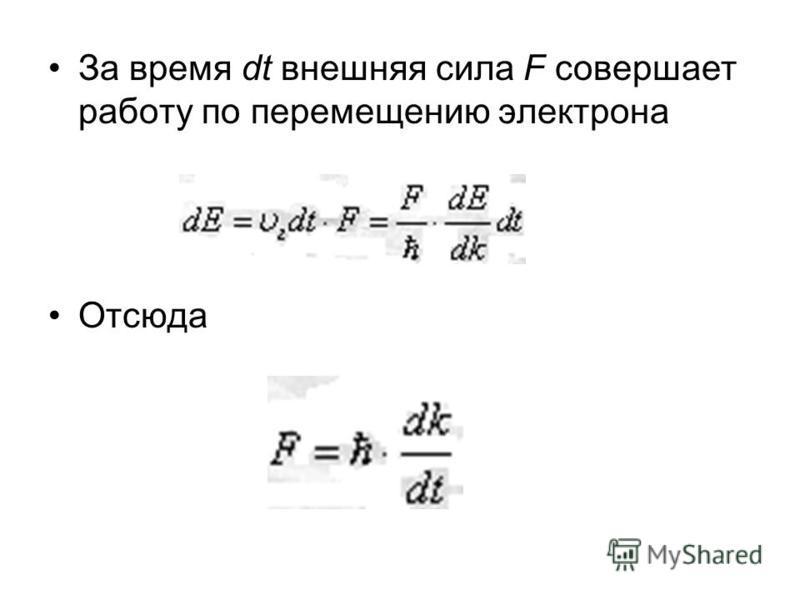 За время dt внешняя сила F совершает работу по перемещению электрона Отсюда