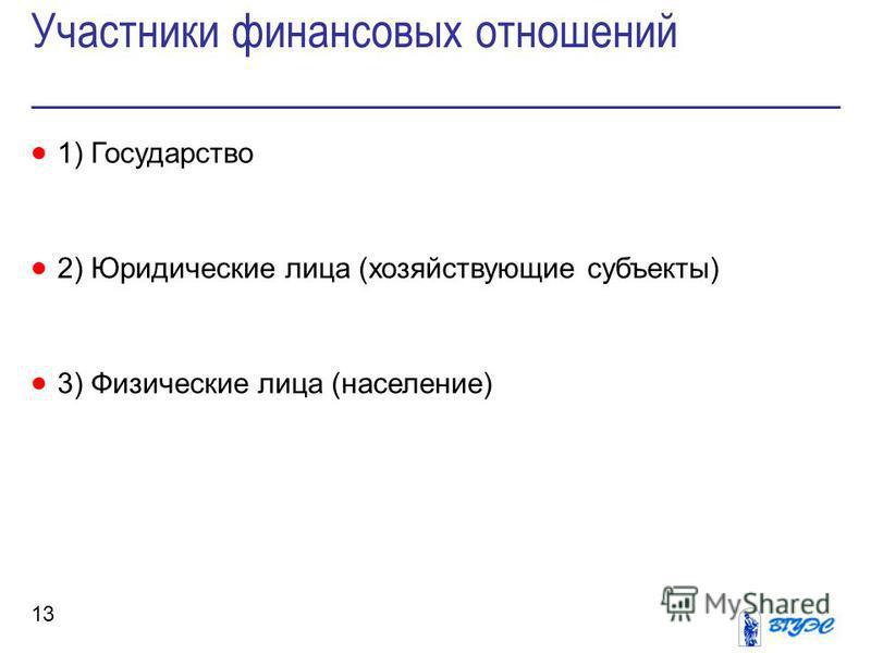 Участники финансовых отношений 13 1) Государство 2) Юридические лица (хозяйствующие субъекты) 3) Физические лица (население)