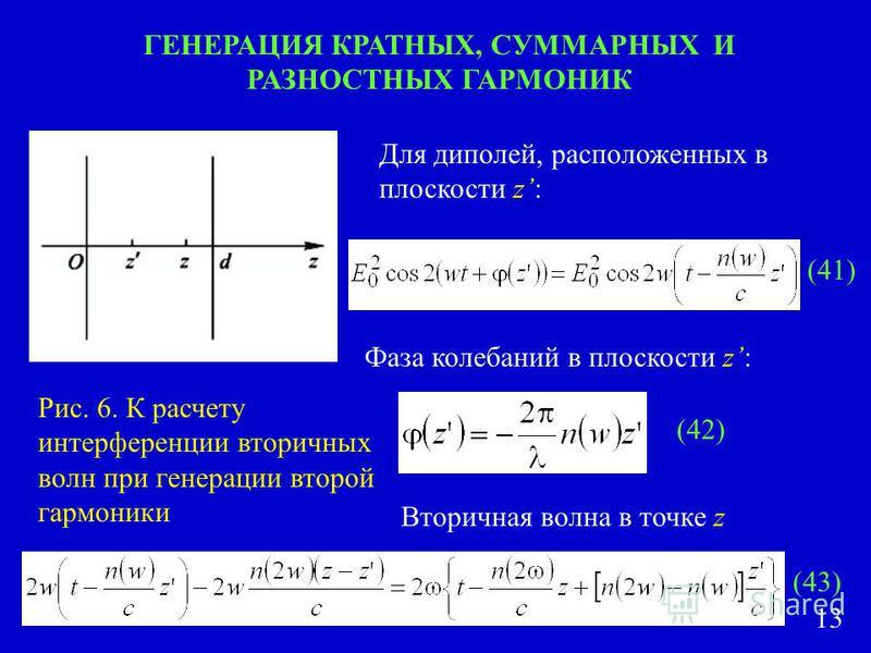 ГЕНЕРАЦИЯ КРАТНЫХ, СУММАРНЫХ И РАЗНОСТНЫХ ГАРМОНИК Рис. 6. К расчету интерференции вторичных волн при генерации второй гармоники Для диполей, расположенных в плоскости z: Фаза колебаний в плоскости z: Вторичная волна в точке z (41) (42) (43) 13