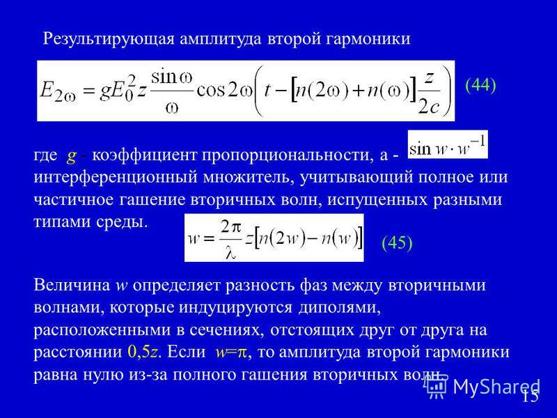 Результирующая амплитуда второй гармоники где g - коэффициент пропорциональности, а - интерференционный множитель, учитывающий полное или частичное гашение вторичных волн, испущенных разными типами среды. Величина w определяет разность фаз между втор