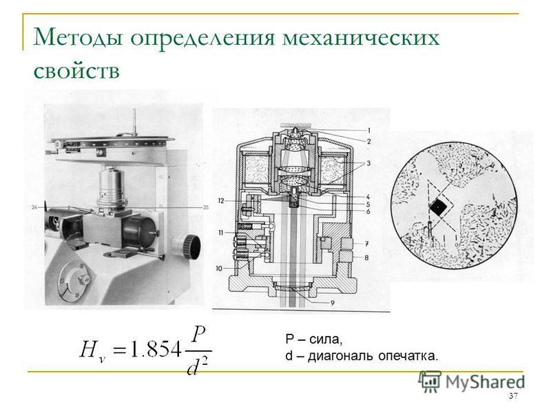 37 Методы определения механических свойств P – сила, d – диагональ опечатка.