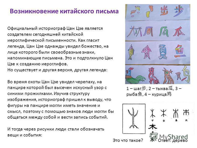 Возникновение китайского письма Официальный историограф Цан Цзе является создателем сегодняшней китайской иероглифической письменности. Как гласит легенда, Цан Цзе однажды увидел божество, на лице которого были своеобразные знаки, напоминающие письме