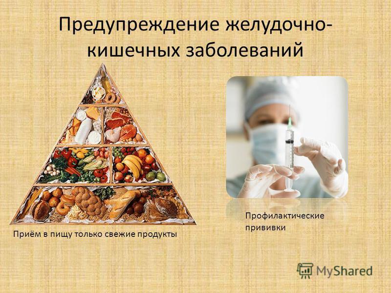 Предупреждение желудочно- кишечных заболеваний Приём в пищу только свежие продукты Профилактические прививки