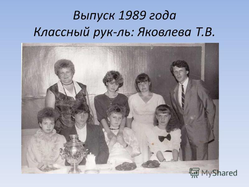Выпуск 1989 года Классный рук-ль: Яковлева Т.В.