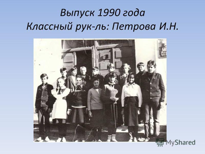 Выпуск 1990 года Классный рук-ль: Петрова И.Н.