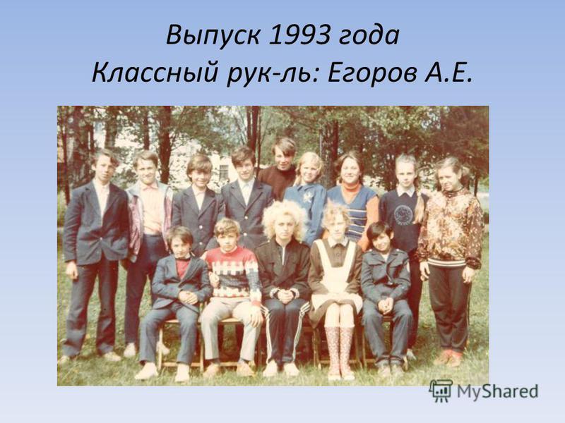 Выпуск 1993 года Классный рук-ль: Егоров А.Е.