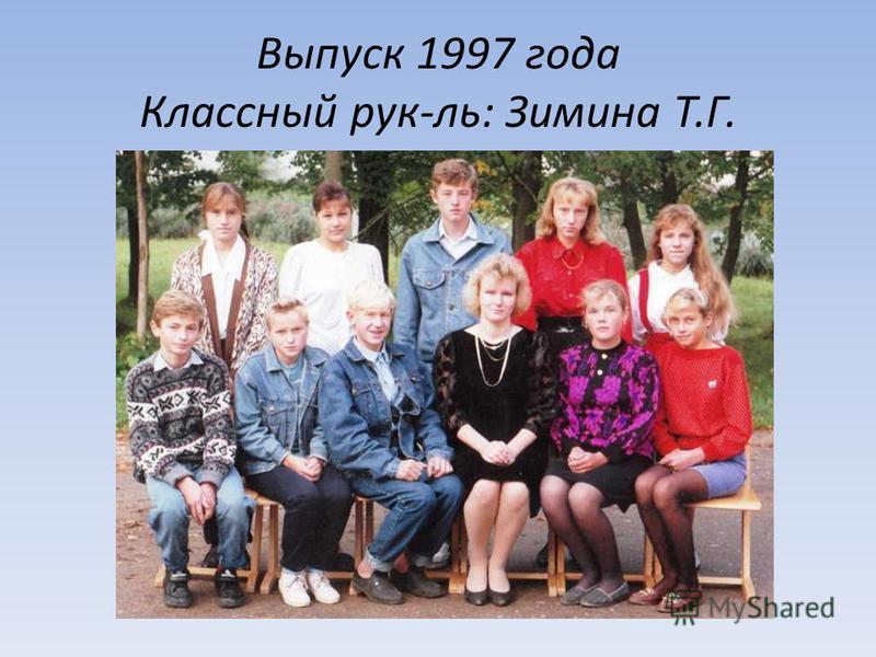 Выпуск 1997 года Классный рук-ль: Зимина Т.Г.