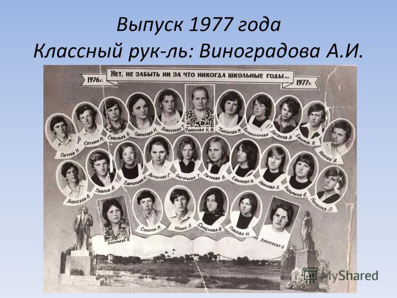 Выпуск 1977 года Классный рук-ль: Виноградова А.И.