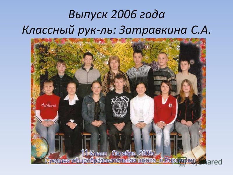 Выпуск 2006 года Классный рук-ль: Затравкина С.А.