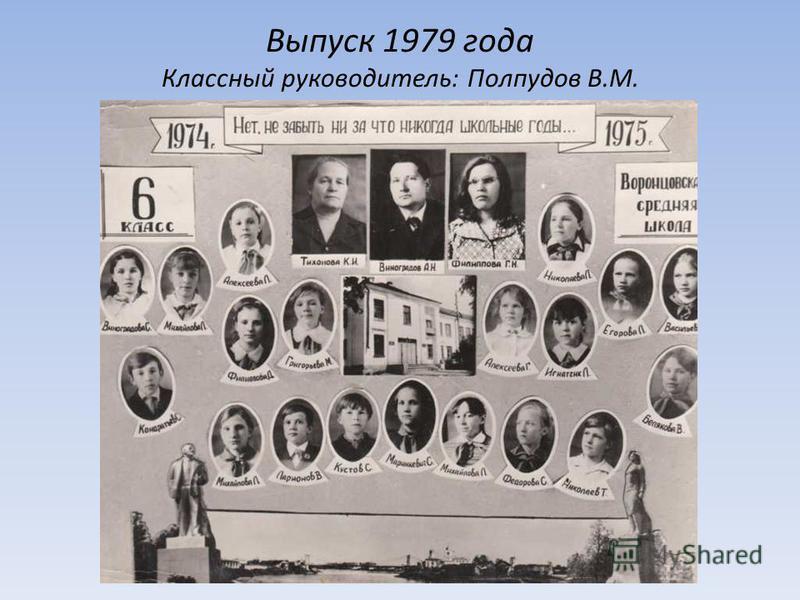 Выпуск 1979 года Классный руководитель: Полпудов В.М.