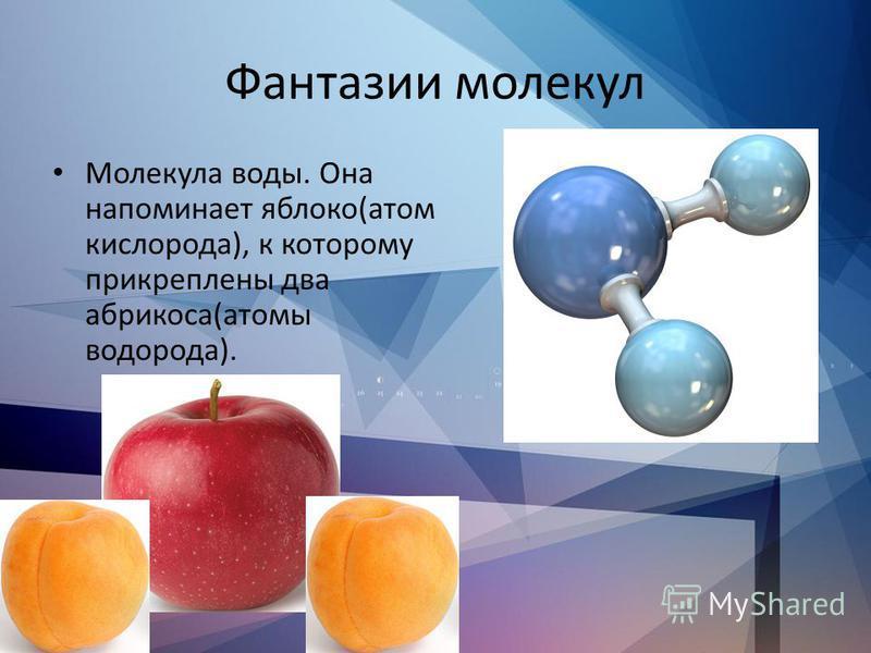 Фантазии молекул Молекула воды. Она напоминает яблоко(атом кислорода), к которому прикреплены два абрикоса(атомы водорода).