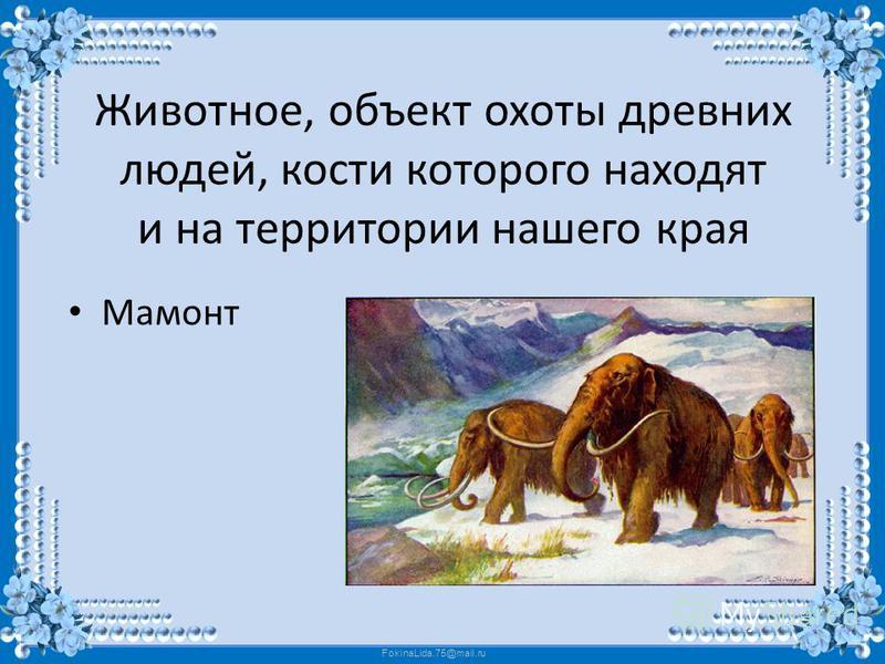 FokinaLida.75@mail.ru Животное, объект охоты древних людей, кости которого находят и на территории нашего края Мамонт