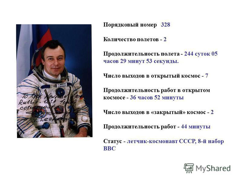 Порядковый номер 328 Количество полетов - 2 Продолжительность полета - 244 суток 05 часов 29 минут 53 секунды. Число выходов в открытый космос - 7 Продолжительность работ в открытом космосе - 36 часов 52 минуты Число выходов в «закрытый» космос - 2 П