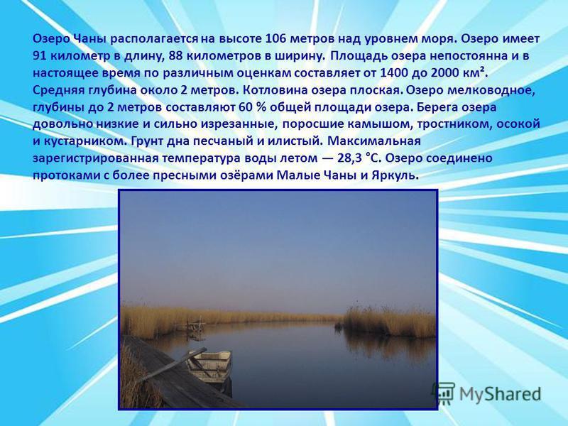 Озеро Чаны располагается на высоте 106 метров над уровнем моря. Озеро имеет 91 километр в длину, 88 километров в ширину. Площадь озера непостоянна и в настоящее время по различным оценкам составляет от 1400 до 2000 км². Средняя глубина около 2 метров