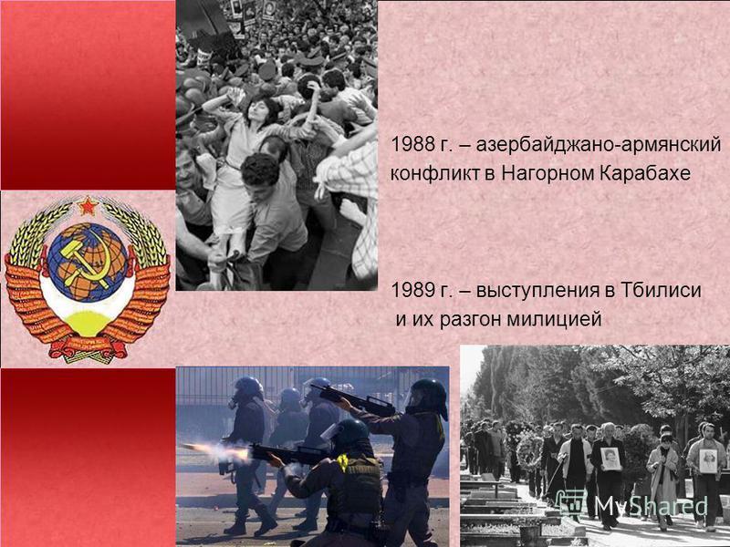 1988 г. – азербайджано-армянский конфликт в Нагорном Карабахе 1989 г. – выступления в Тбилиси и их разгон милицией