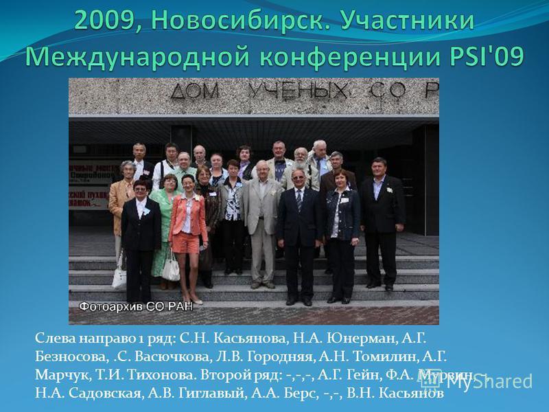 Слева направо 1 ряд: С.Н. Касьянова, Н.А. Юнерман, А.Г. Безносова,.С. Васючкова, Л.В. Городняя, А.Н. Томилин, А.Г. Марчук, Т.И. Тихонова. Второй ряд: -,-,-, А.Г. Гейн, Ф.А. Мурзин, -, Н.А. Садовская, А.В. Гиглавый, А.А. Берс, -,-, В.Н. Касьянов