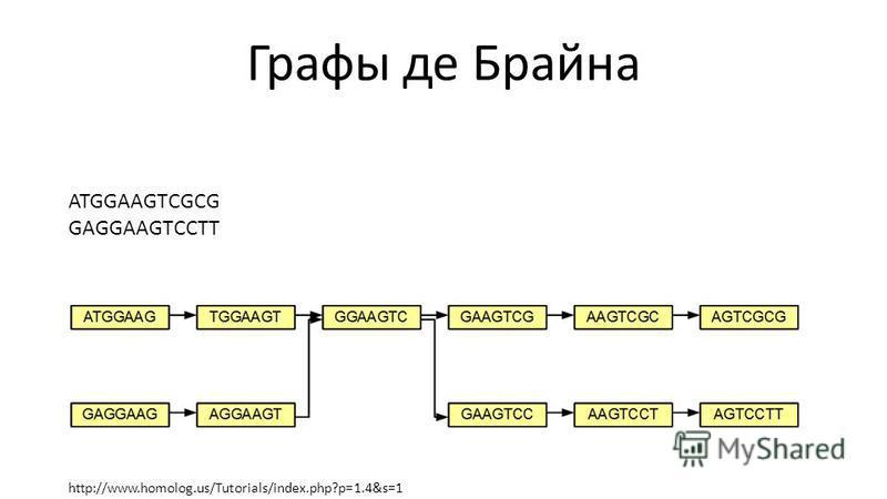 Графы де Брайна http://www.homolog.us/Tutorials/index.php?p=1.4&s=1 ATGGAAGTCGCG GAGGAAGTCCTT