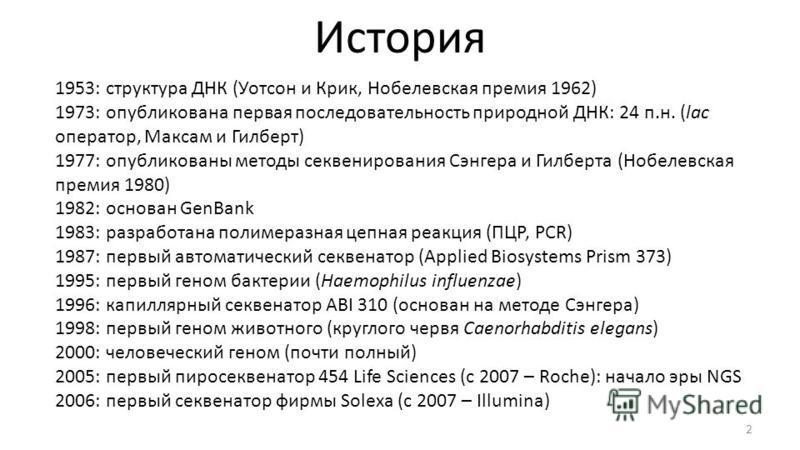 История 2 1953: структура ДНК (Уотсон и Крик, Нобелевская премия 1962) 1973: опубликована первая последовательность природной ДНК: 24 п.н. (lac оператор, Максам и Гилберт) 1977: опубликованы методы секвенированиеия Сэнгера и Гилберта (Нобелевская пре