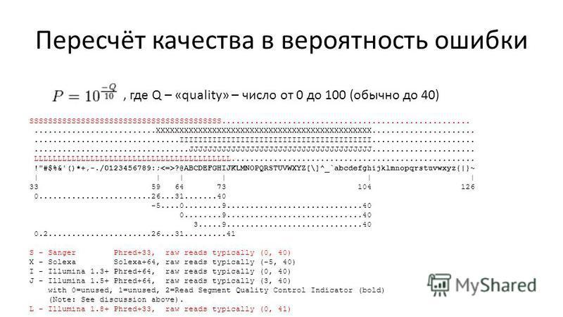 Пересчёт качества в вероятность ошибки, где Q – «quality» – число от 0 до 100 (обычно до 40) SSSSSSSSSSSSSSSSSSSSSSSSSSSSSSSSSSSSSSSSS...............................................................................XXXXXXXXXXXXXXXXXXXXXXXXXXXXXXXXXXXXX