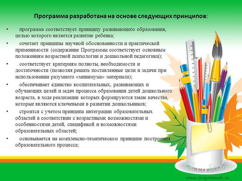 Программа разработана на основе следующих принципов: программа соответствует принципу развивающего образования, целью которого является развитие ребенка; сочетает принципы научной обоснованности и практической применимости (содержание Программы соотв
