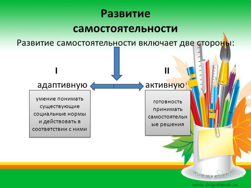 Развитие самостоятельности Развитие самостоятельности включает две стороны: I II адаптивную активную умение понимать существующие социальные нормы и действовать в соответствии с ними готовность принимать самостоятельн ые решения