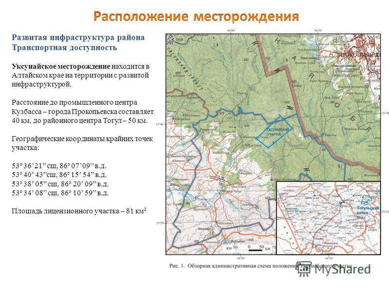 Развитая инфраструктура района Транспортная доступность Уксунайское месторождение находится в Алтайском крае на территории с развитой инфраструктурой. Расстояние до промышленного центра Кузбасса – города Прокопьевска составляет 40 км, до районного це