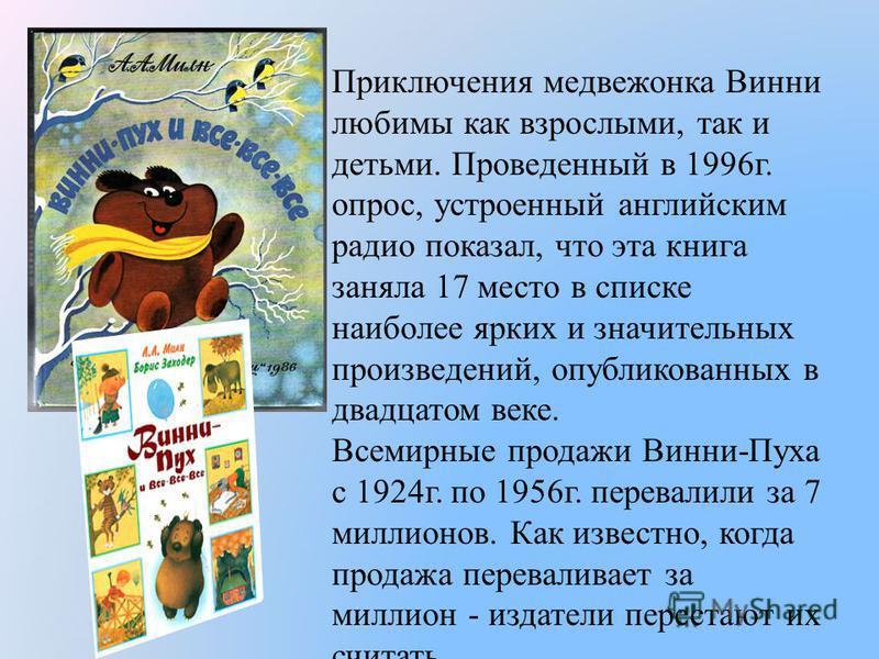 Приключения медвежонка Винни любимы как взрослыми, так и детьми. Проведенный в 1996 г. опрос, устроенный английским радио показал, что эта книга заняла 17 место в списке наиболее ярких и значительных произведений, опубликованных в двадцатом веке. Все