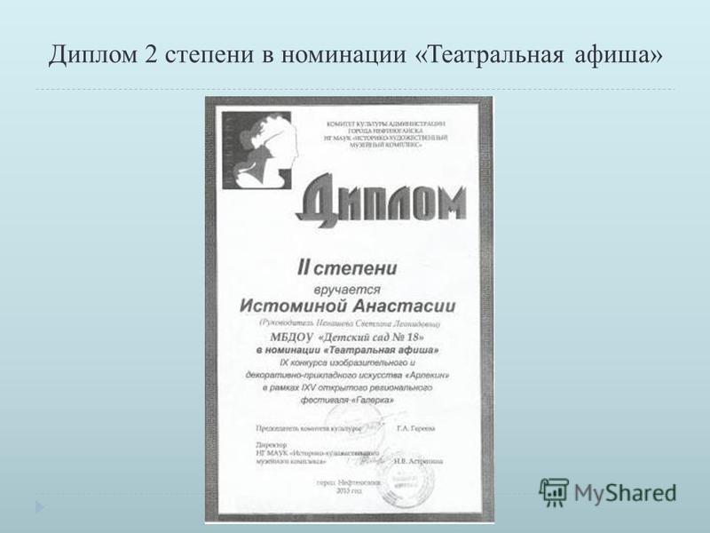 Диплом 2 степени в номинации «Театральная афиша»