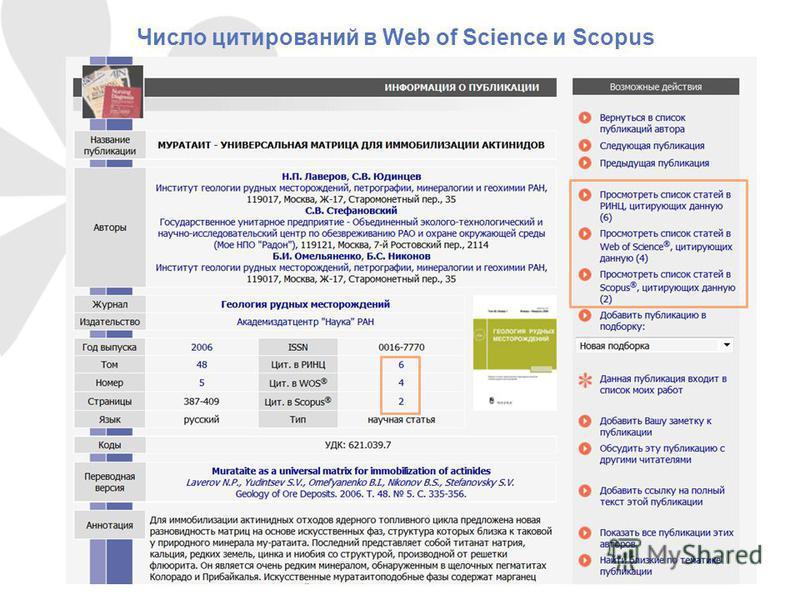 Число цитирований в Web of Science и Scopus