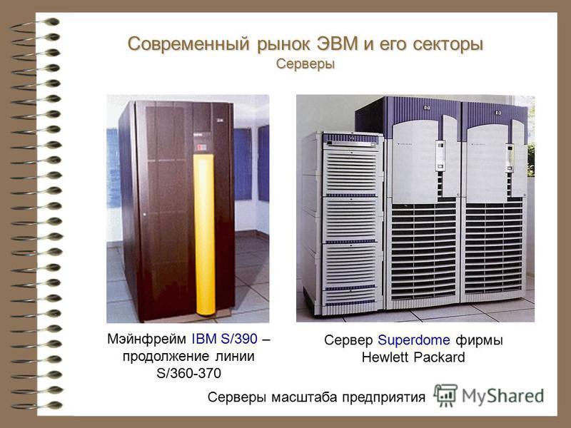 Серверы масштаба предприятия Мэйнфрейм IBM S/390 – продолжение линии S/360-370 Сервер Superdome фирмы Hewlett Packard Современный рынок ЭВМ и его секторы Серверы