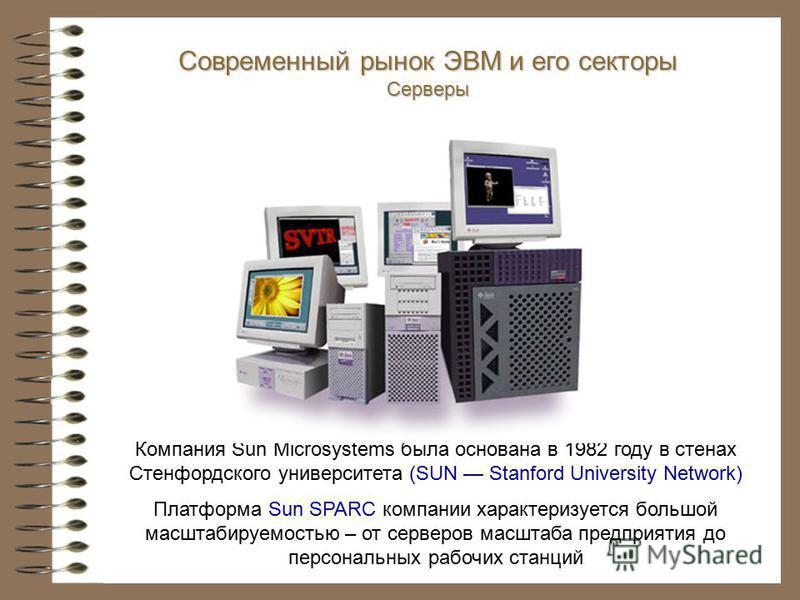 Компания Sun Microsystems была основана в 1982 году в стенах Стенфордского университета (SUN Stanford University Network) Платформа Sun SPARC компании характеризуется большой масштабируемостью – от серверов масштаба предприятия до персональных рабочи