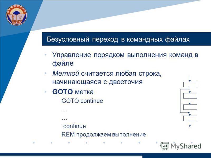 Безусловный переход в командных файлах Управление порядком выполнения команд в файле Меткой считается любая строка, начинающаяся с двоеточия GOTO метка GOTO continue … :continue REM продолжаем выполнение