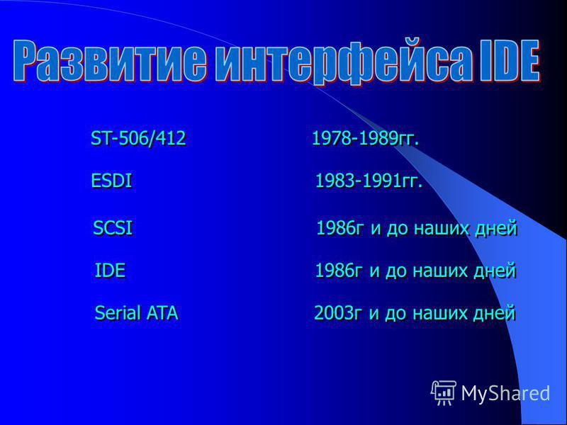 ST-506/412 1978-1989 гг. ESDI 1983-1991 гг. SCSI 1986 г и до наших дней IDE 1986 г и до наших дней Serial ATA 2003 г и до наших дней