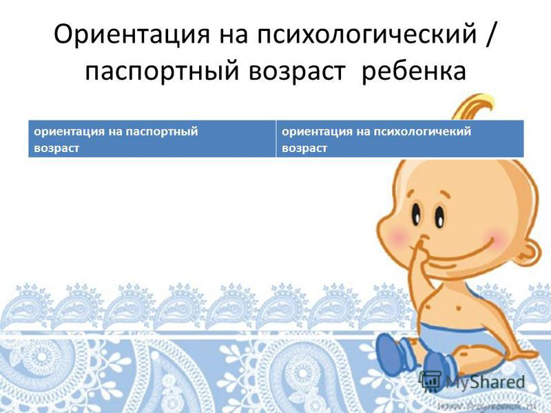 Ориентация на психологический / паспортный возраст ребенка ориентация на паспортный возраст ориентация на психологический возраст