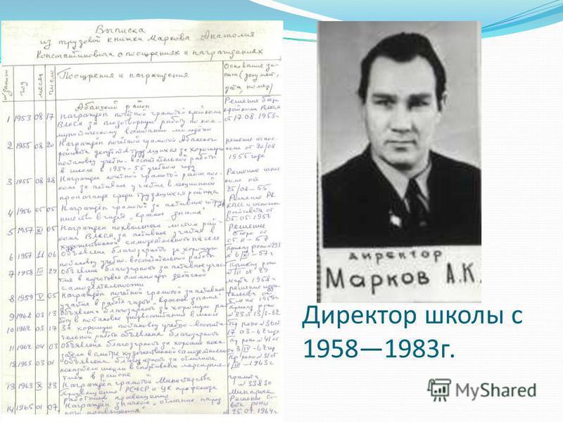 Директор школы с 19581983 г.