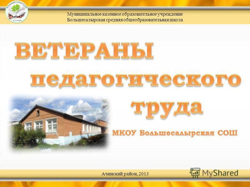 Муниципальное казенное образовательное учреждение Большесалырская средняя общеобразовательная школа Ачинский район, 2013