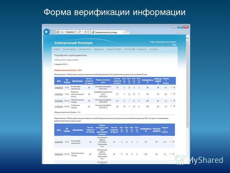 Форма верификации информации