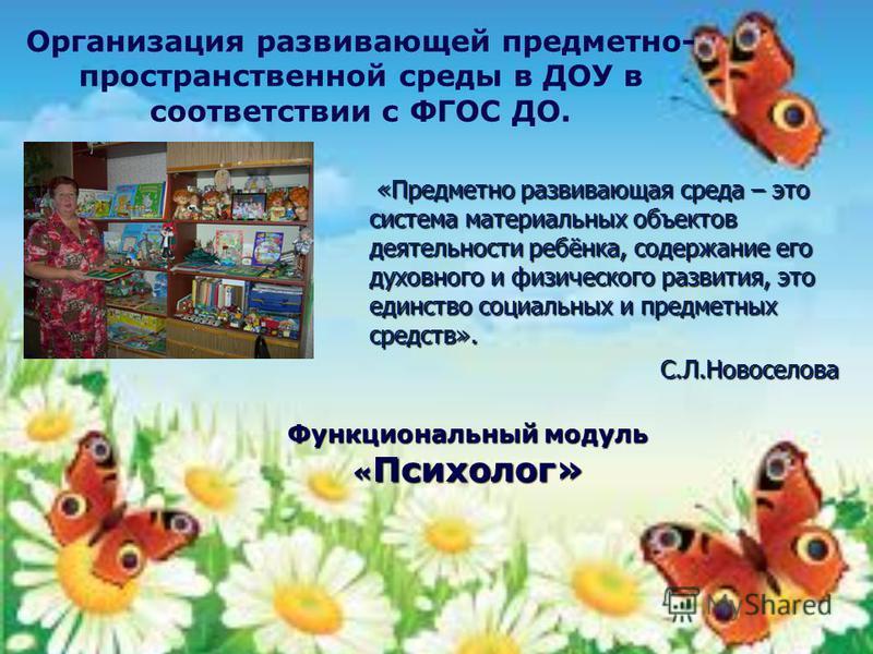 Функциональный модуль « Психолог» «Предметно развивающая среда – это система материальных объектов деятельности ребёнка, содержание его духовного и физического развития, это единство социальных и предметных средств». «Предметно развивающая среда – эт