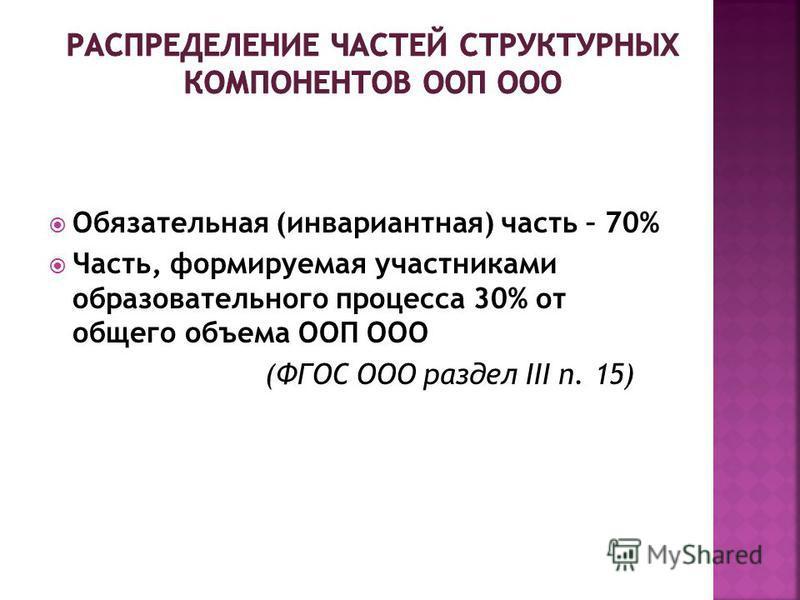 Обязательная (инвариантная) часть – 70% Часть, формируемая участниками образовательного процесса 30% от общего объема ООП ООО (ФГОС ООО раздел III п. 15)
