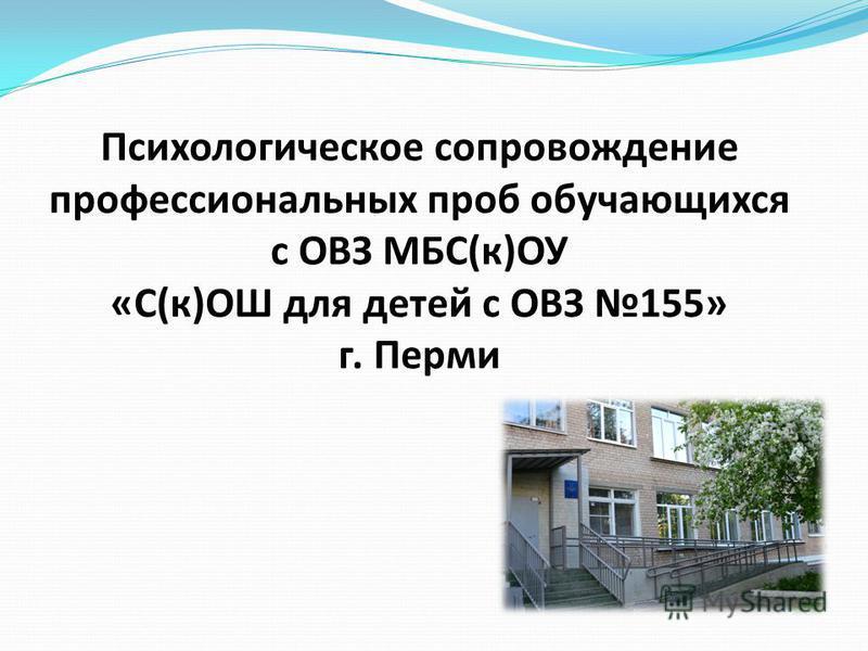 Психологическое сопровождение профессиональных проб обучающихся с ОВЗ МБС(к)ОУ «С(к)ОШ для детей с ОВЗ 155» г. Перми