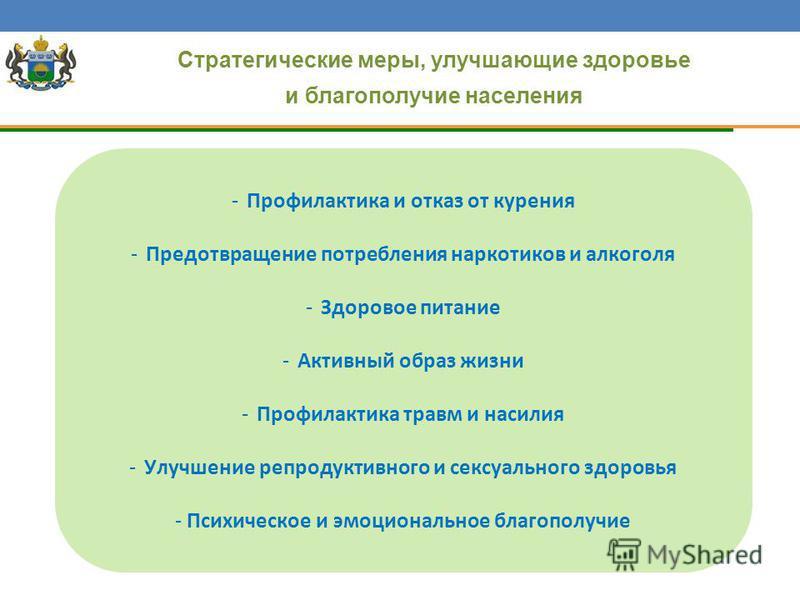 Стратегические меры, улучшающие здоровье и благополучие населения -Профилактика и отказ от курения -Предотвращение потребления наркотиков и алкоголя -Здоровое питание -Активный образ жизни -Профилактика травм и насилия -Улучшение репродуктивного и се