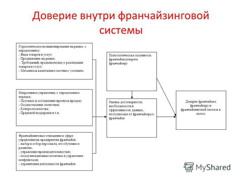 Доверие внутри франчайзинговой системы Стратегическое позиционирование на рынке, с определением: - Вида товаров и услуг; - Продвижения на рынке; - Требований, предъявляемых к реализации товаров и услуг; - Механизма адаптации к местным условиям Операт