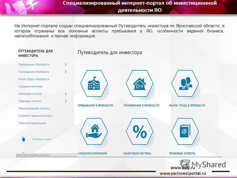 www.icdy.ru www.yarinvestportal.ru На Интернет-портале создан специализированный Путеводитель инвестора по Ярославской области, в котором отражены все основные аспекты пребывания в ЯО, особенности ведения бизнеса, налогообложения и прочая информация.